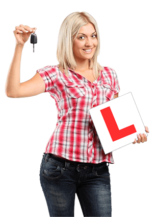 female learner driver with car keys and learner plates